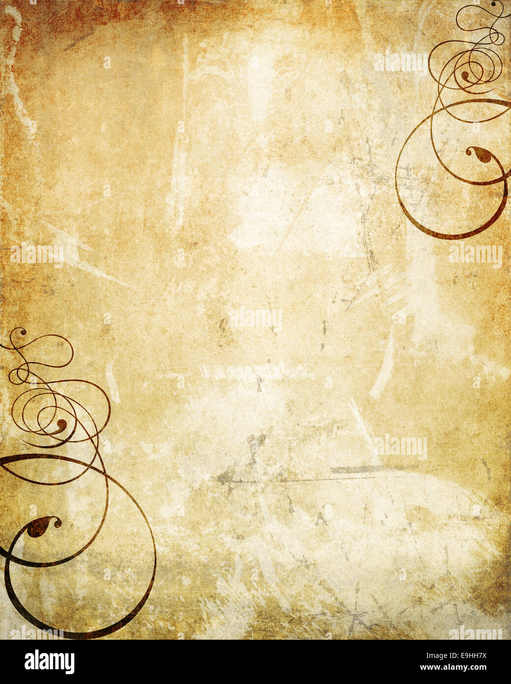 old wall texture with added swirls - Stock Image