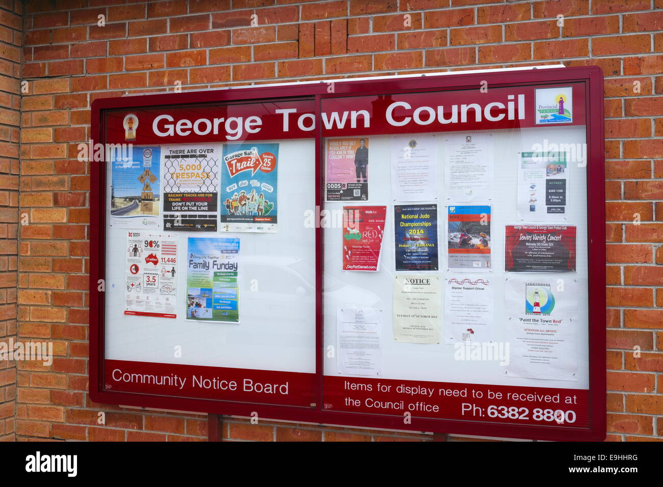 noticeboard of george town council, northern Tasmania,Australia - Stock Image