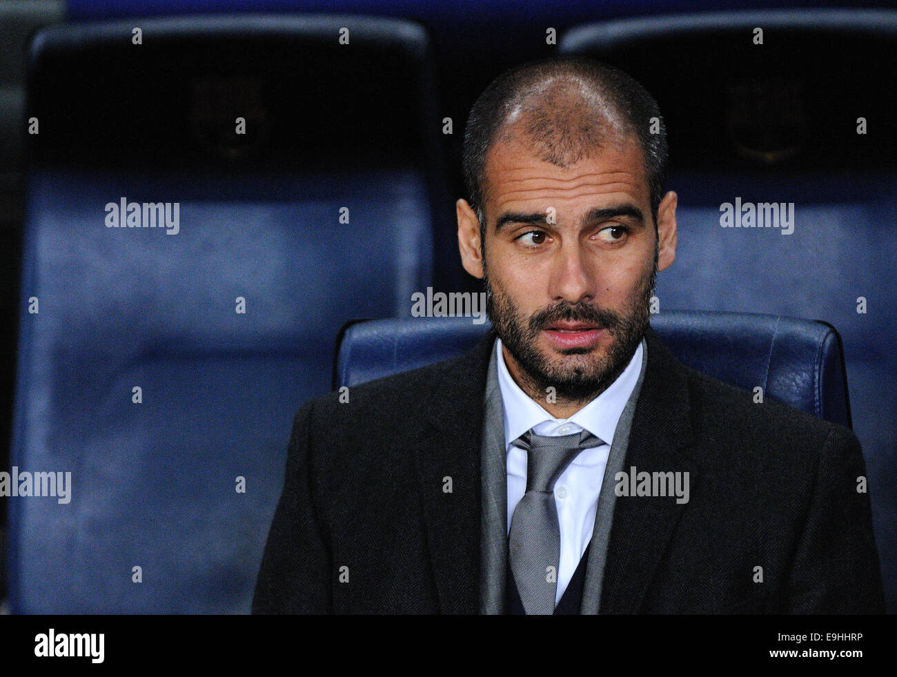 BARCELONA - NOV 10: Josep Pep Guardiola sitting on the bench  at the Camp Nou Stadium on the Spanish Cup (Copa del - Stock Image