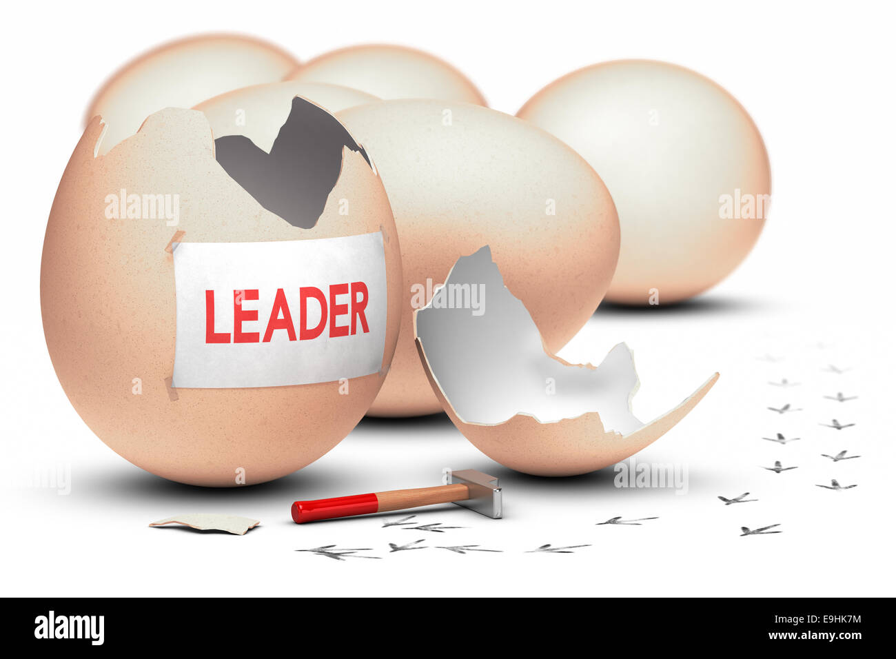 One egg broken by using a hammer with the word leader written on a sheet of paper, concept image for illustration - Stock Image