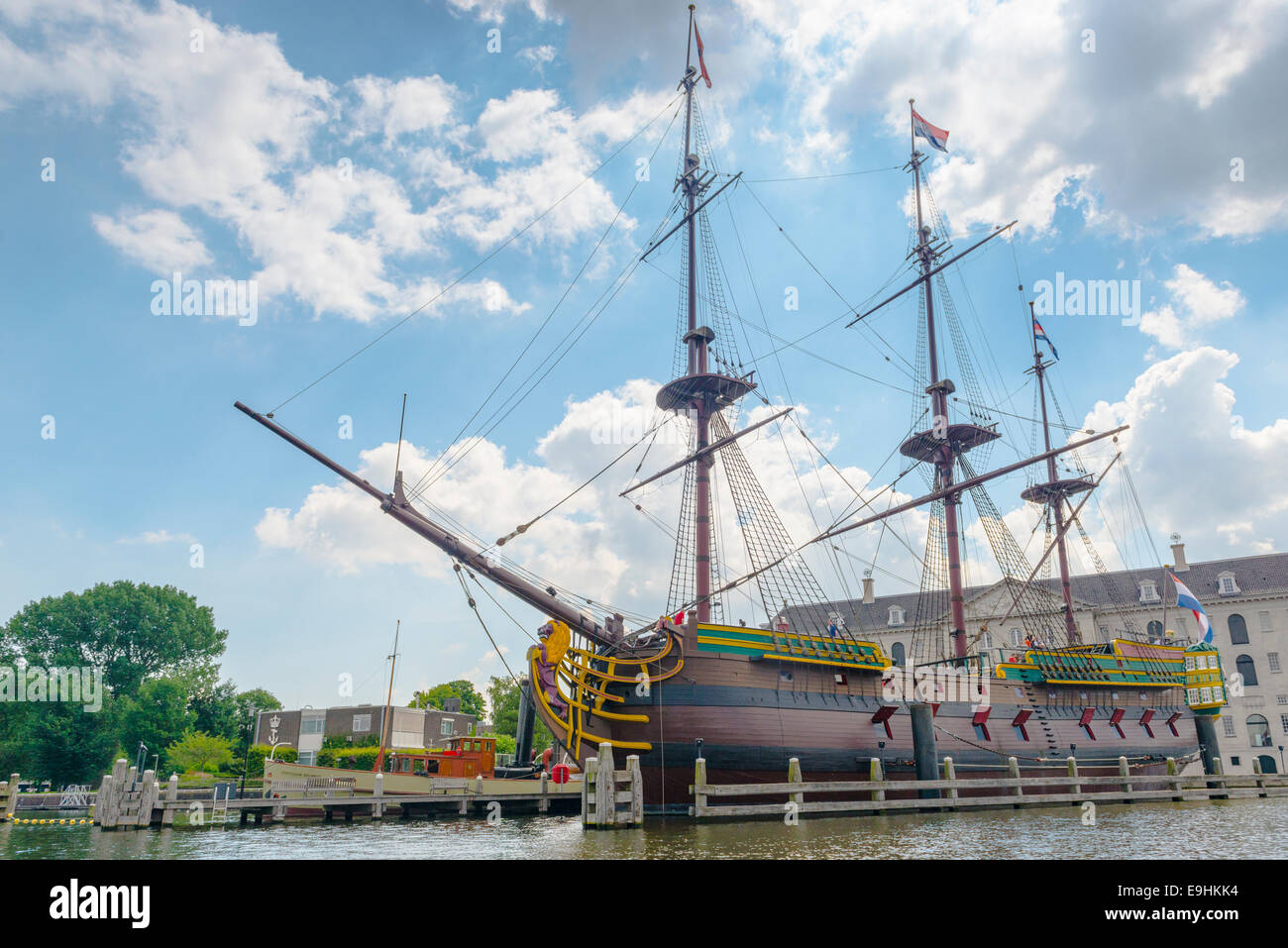 The Stad Amsterdam (City of Amsterdam) is a three-masted clipper, Amsterdam, Netherlands - Stock Image