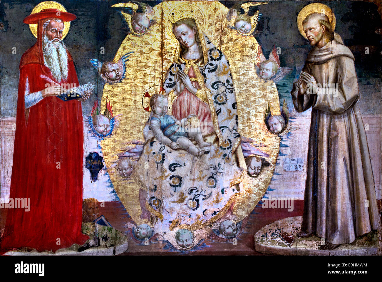 Virgin in Glory with Saint Jerome and Saint Francis by Luca di Paolo. Known to 1470-1493 in the Marches Italy Italian Stock Photo