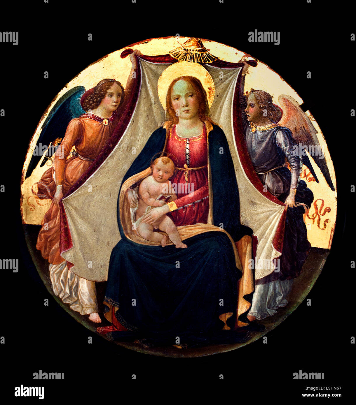 The Virgin and Child between two angles Master - Maitre de Marradi 15th Century  Italy Italian France French - Stock Image