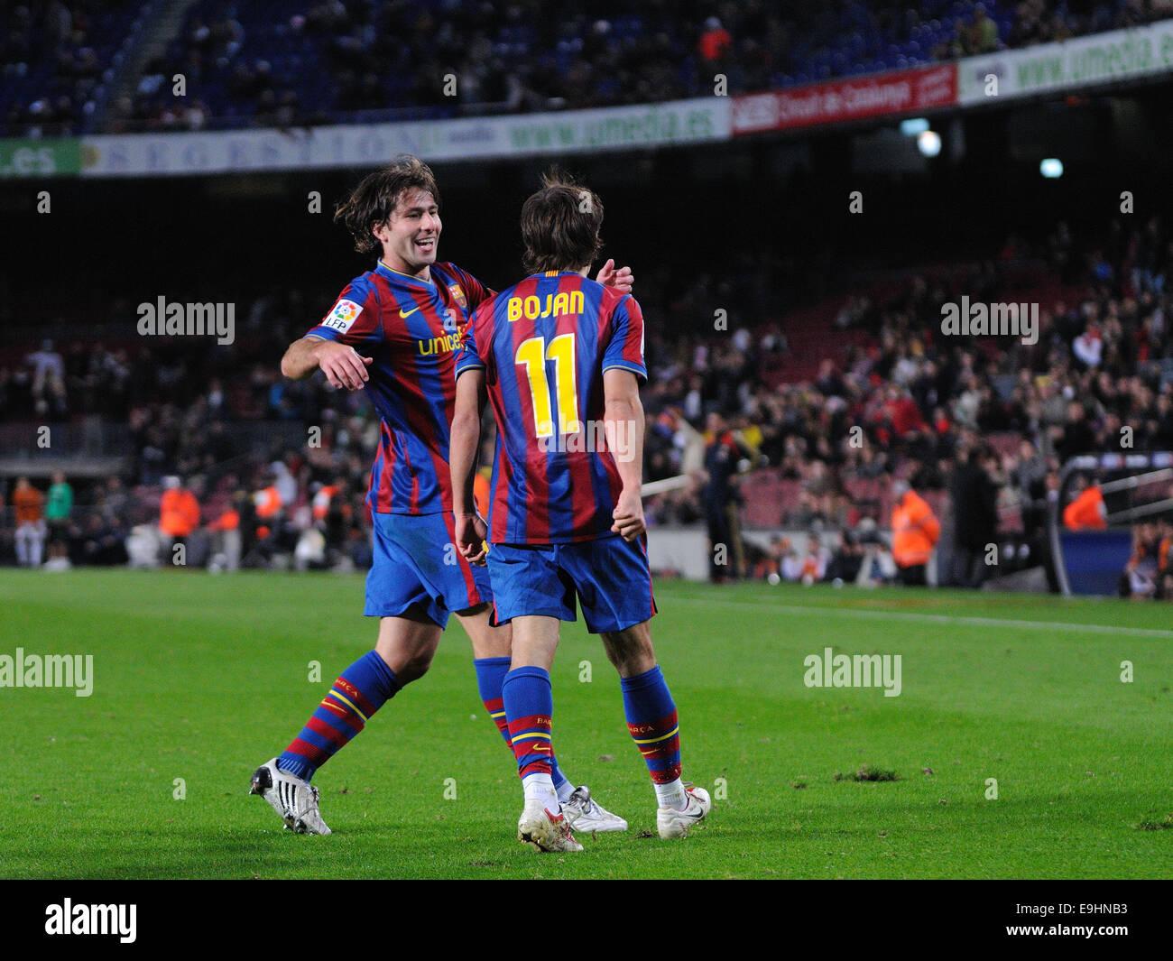 BARCELONA - NOV 10: Bojan Krkic, F.C Barcelona player, celebrates his goal against Cultural Leonesa at the Camp - Stock Image