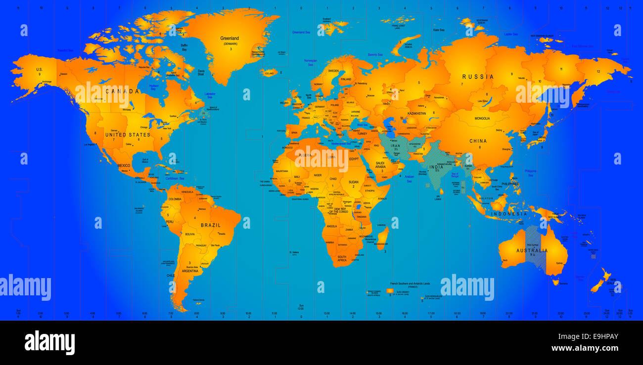 Timezone map Stock Photo: 74764115 - Alamy