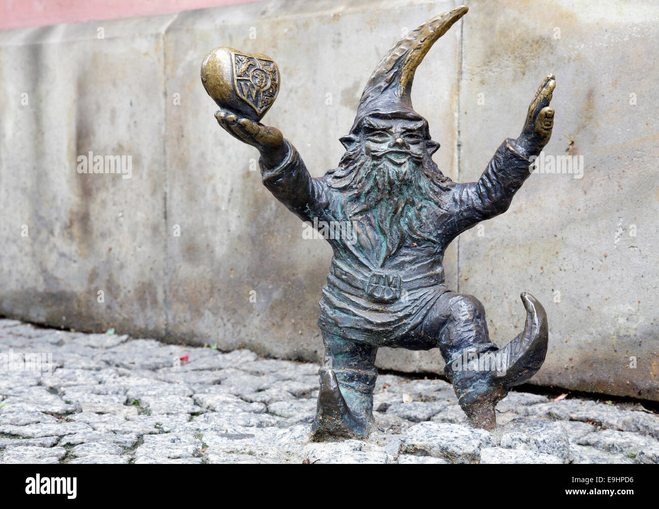 The gnomes of Wroclaw, WrocLovek – Wroclaw love, Poland - Stock Image