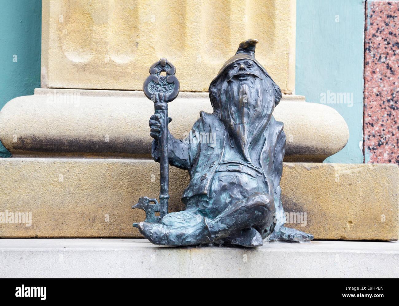 The gnomes of Wroclaw, Klucznik, Steward, Poland Stock Photo