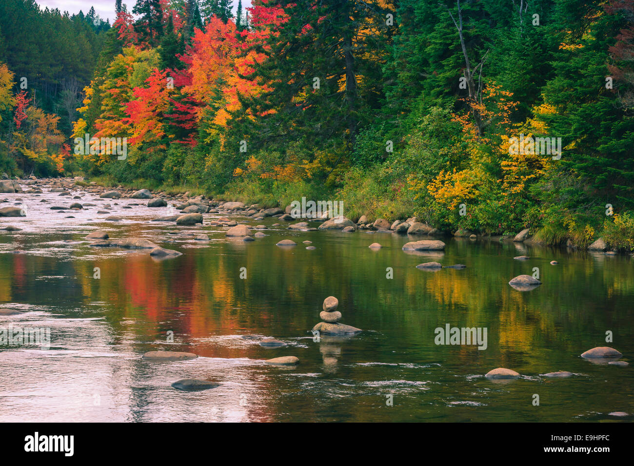 Autumn colors  in Adirondacks State Park, close to Lake Placid in the northern part of New York State, USA - Stock Image