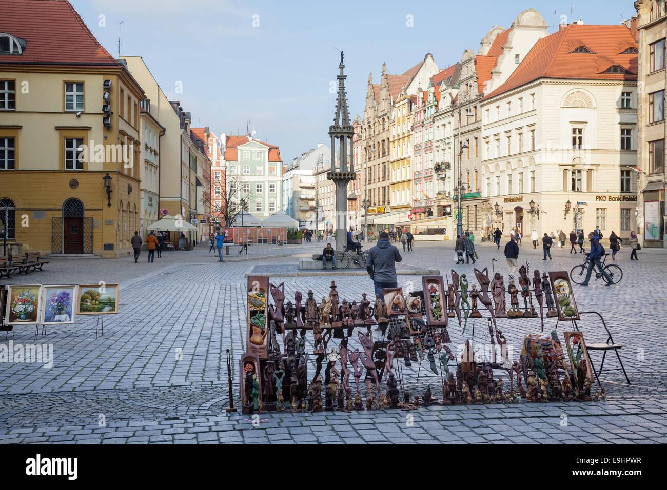 Market Square Rynek we Wrocławiu, Wroclaw, Poland Stock Photo