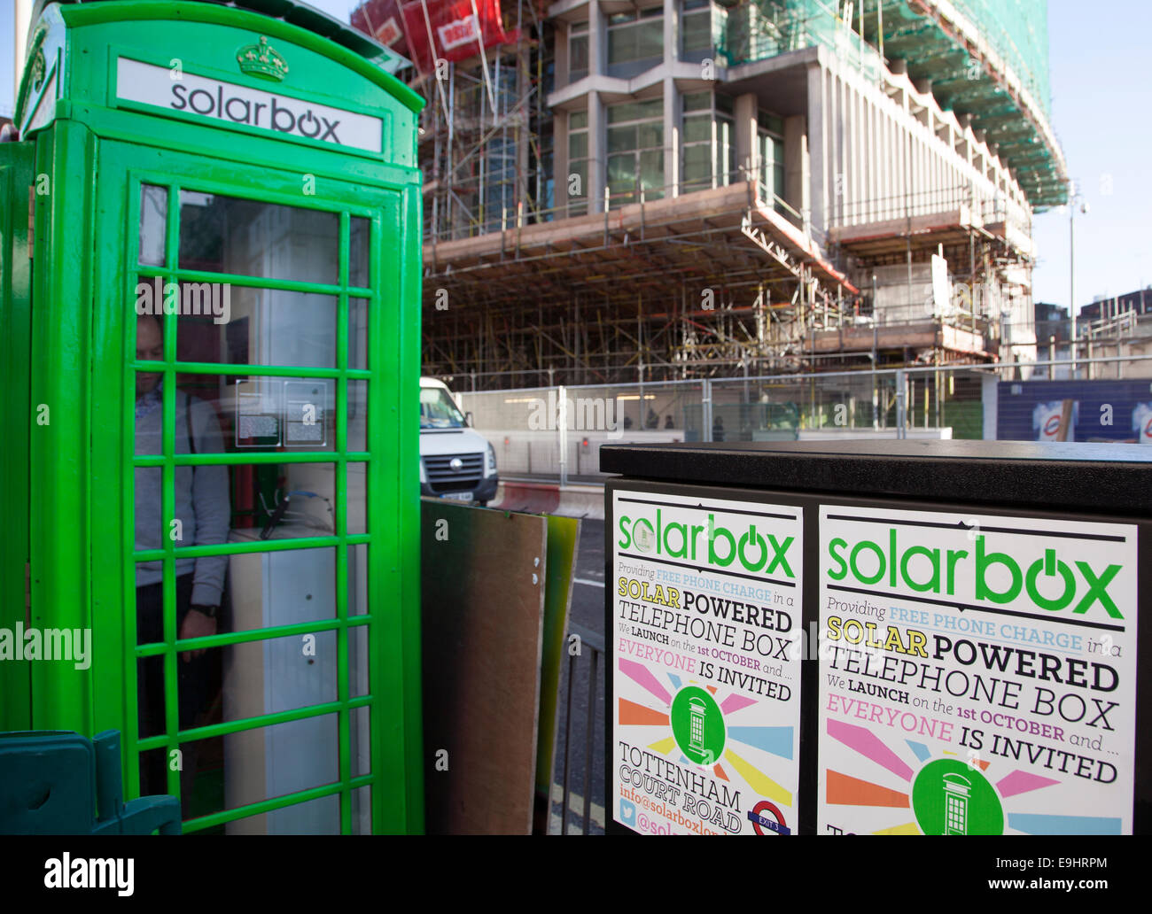 Solar-powered telephone box for charging mobile phones, Central London Stock Photo