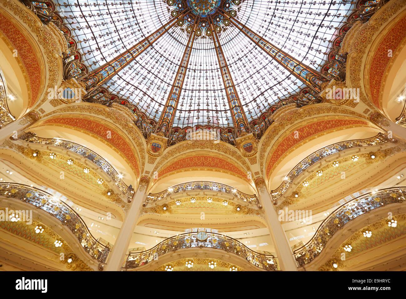 Galeries Lafayette dome, interior in Paris - Stock Image