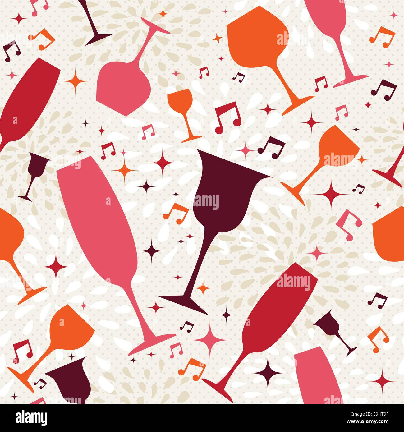 drink and cocktail glasses seamless pattern background. design for