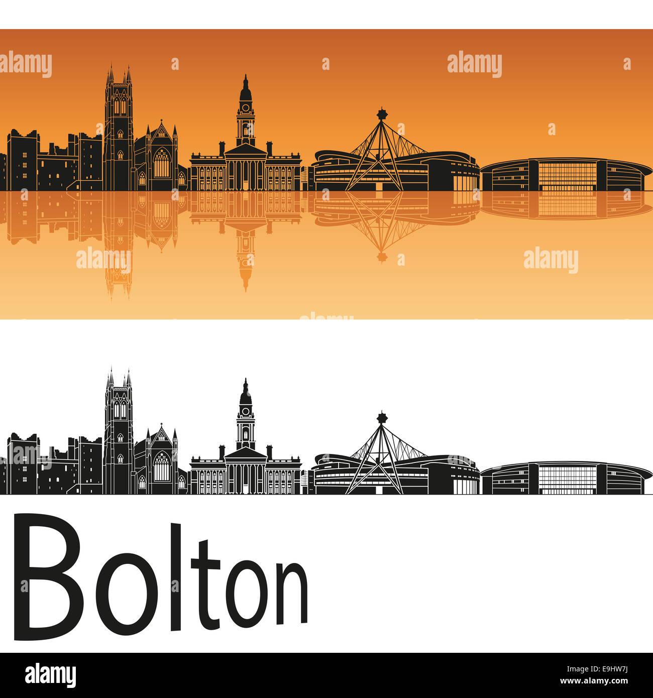 Bolton skyline in orange - Stock Image