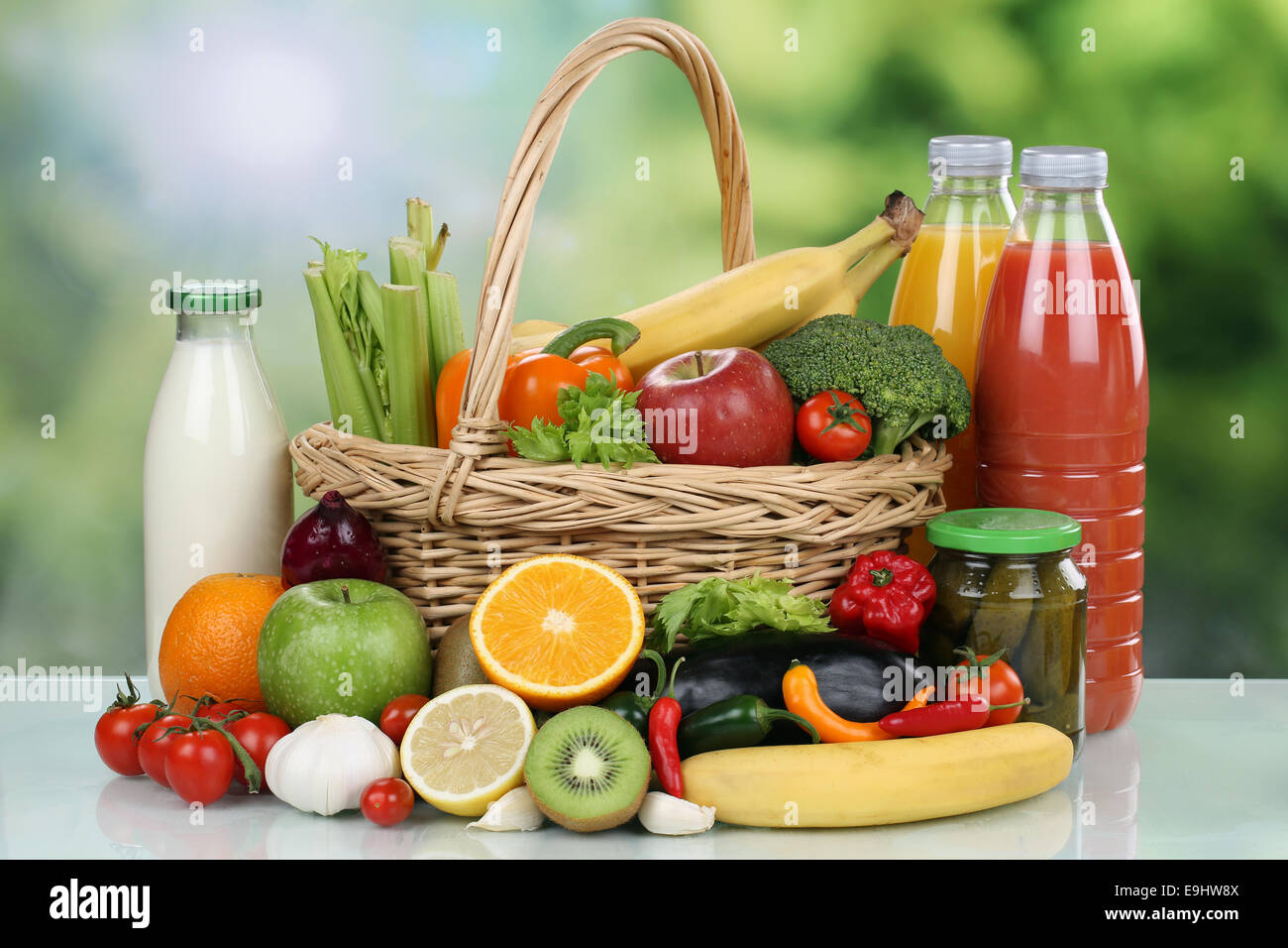 Fruits, Vegetables, Groceries And Beverages In A Shopping Basket