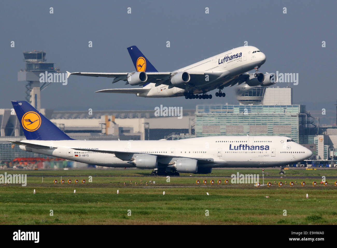 Frankfurt, Germany - September 17, 2014: Lufthansa Airbus A380 and Boeing 747 aircraft at Frankfurt Airport (FRA). - Stock Image