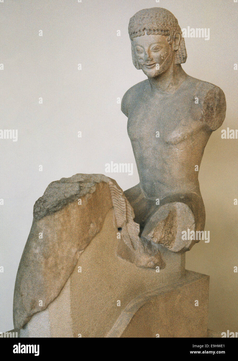 Greece. Archaic Period. Rampin Rider. Equestrian statue. C. 550 BC. Acropolis Museum. Athens. - Stock Image