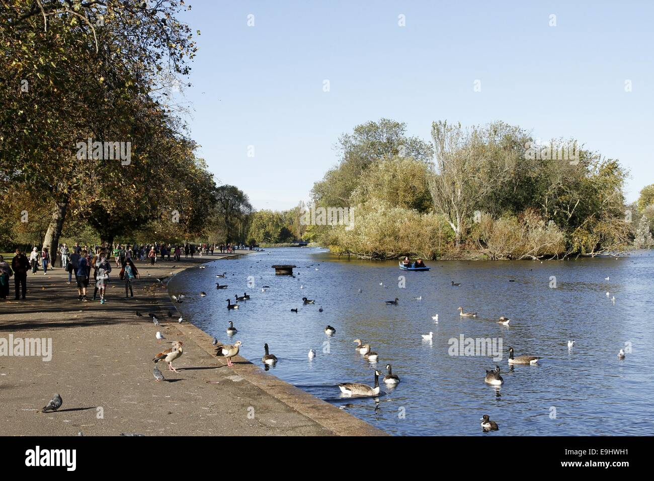London, UK. 28th October, 2014. 28th October 2014. Tourists enjoy the afternoon sun in Regents park, London, UK - Stock Image