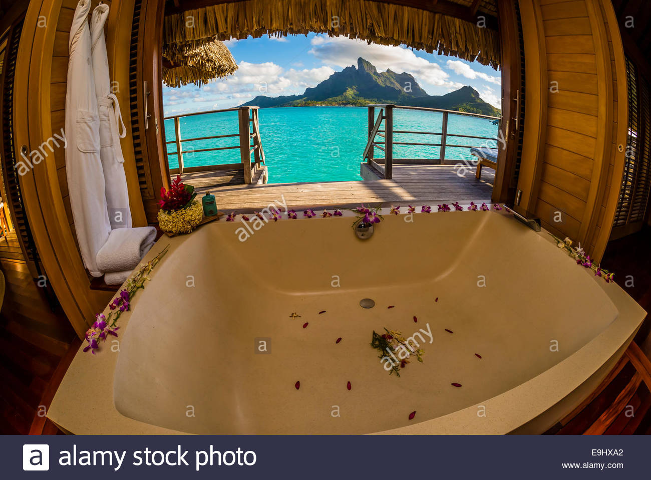 View From A Bathtub In An Overwater Bungalow Mt Otemanu In