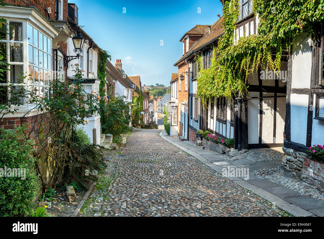 Beautiful old half timbered Tudor style houses on a cobbled street in Rye, East Sussex - Stock Image