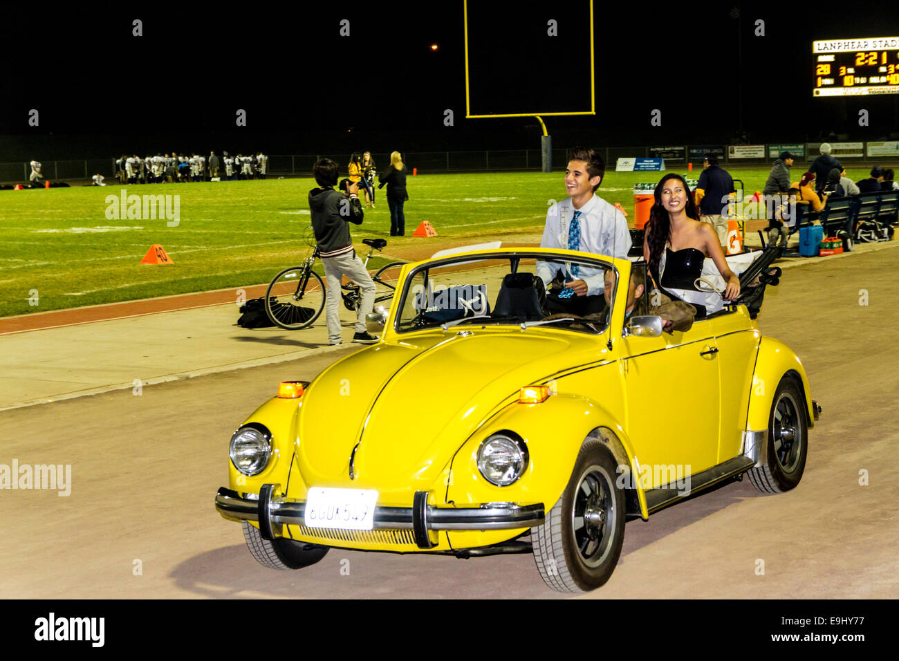 A High School Football Game and Homecoming celebration in Modesto California October 2014 - Stock Image