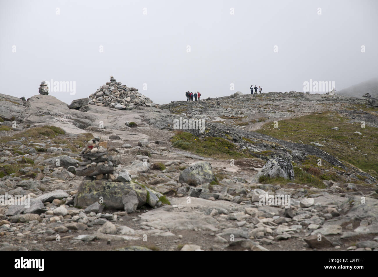 The Besseggen trail in Jotunheimen national park, Norway - a very popular route amongst hikers. - Stock Image