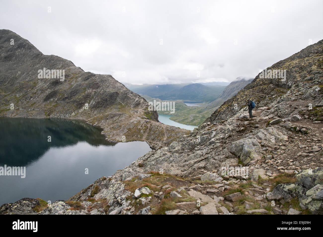 View across Besseggen mountain ridge in Jotunheimen, Norway. - Stock Image