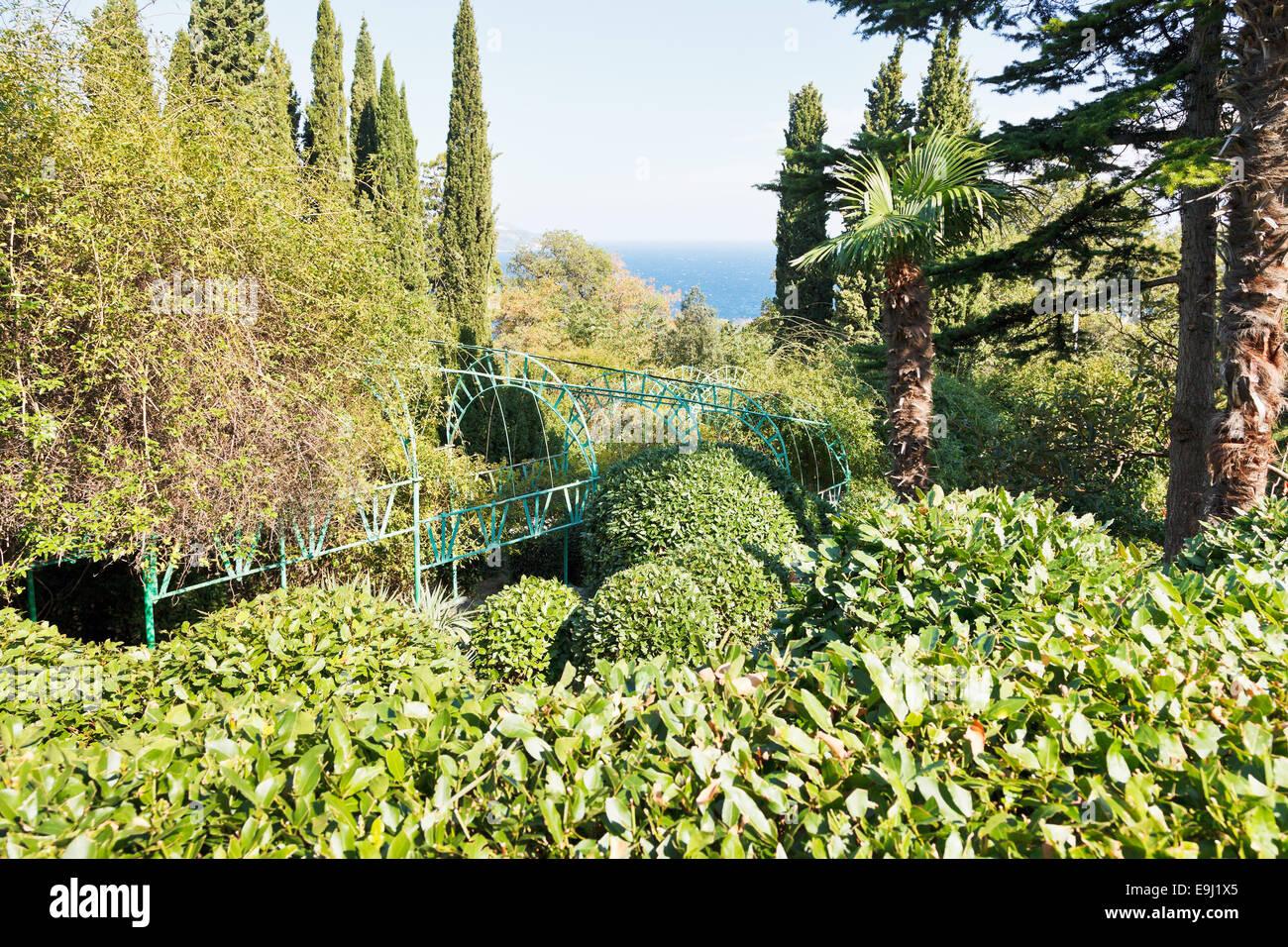 view of Livadiya garden on Southern Coast of Crimea and Black Sea - Stock Image