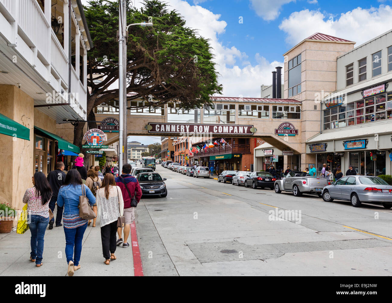 Cafes and stores along Cannery Row, Monterey, California, USA - Stock Image