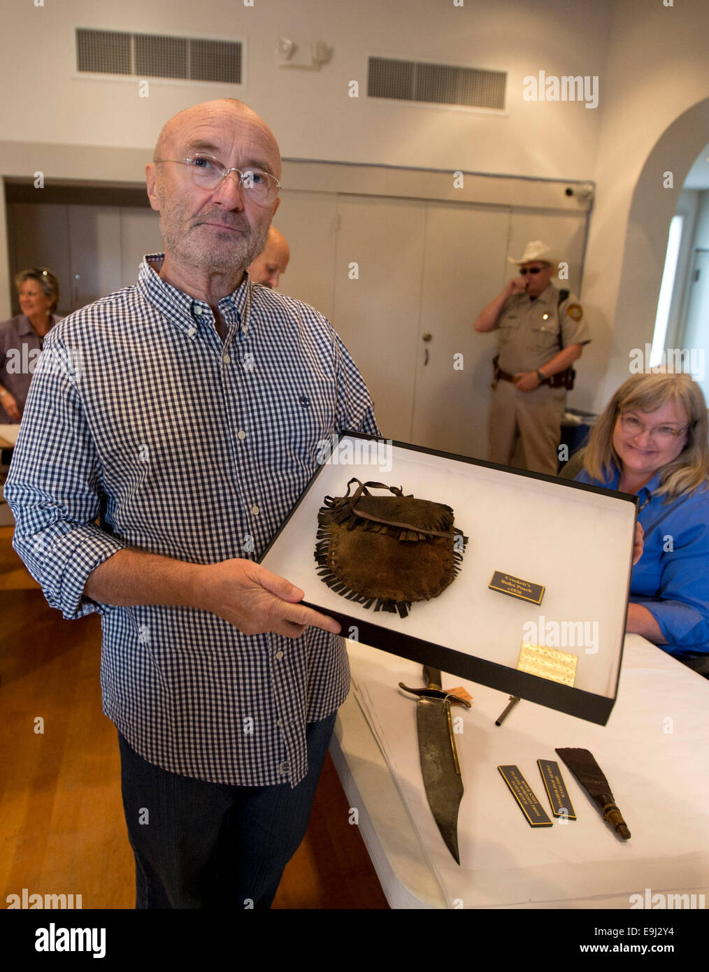 British music legend, Phil Collins donates what is considered the biggest collection of Alamo artifacts to the people - Stock Image