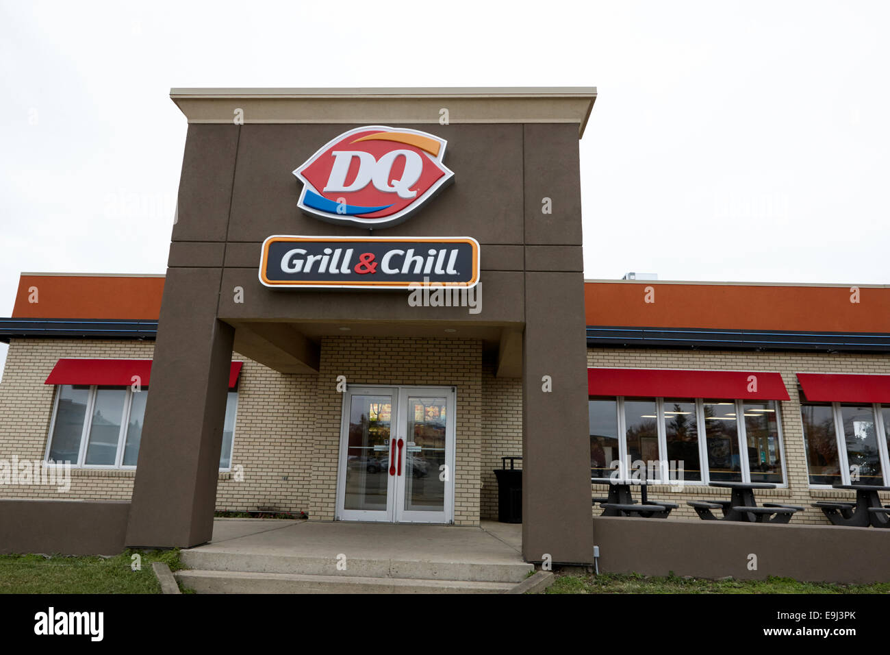 sign for dq dairy queen grill and chill restaurant Saskatchewan Canada - Stock Image