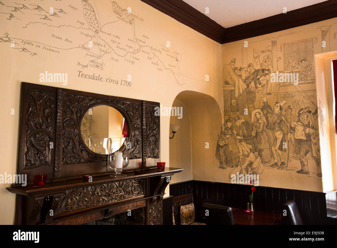 UK, County Durham, Greta Bridge, the Morritt Arms Hotel, Dickens Bistro, 2012 Dickens mural and Teesdale map by - Stock Image