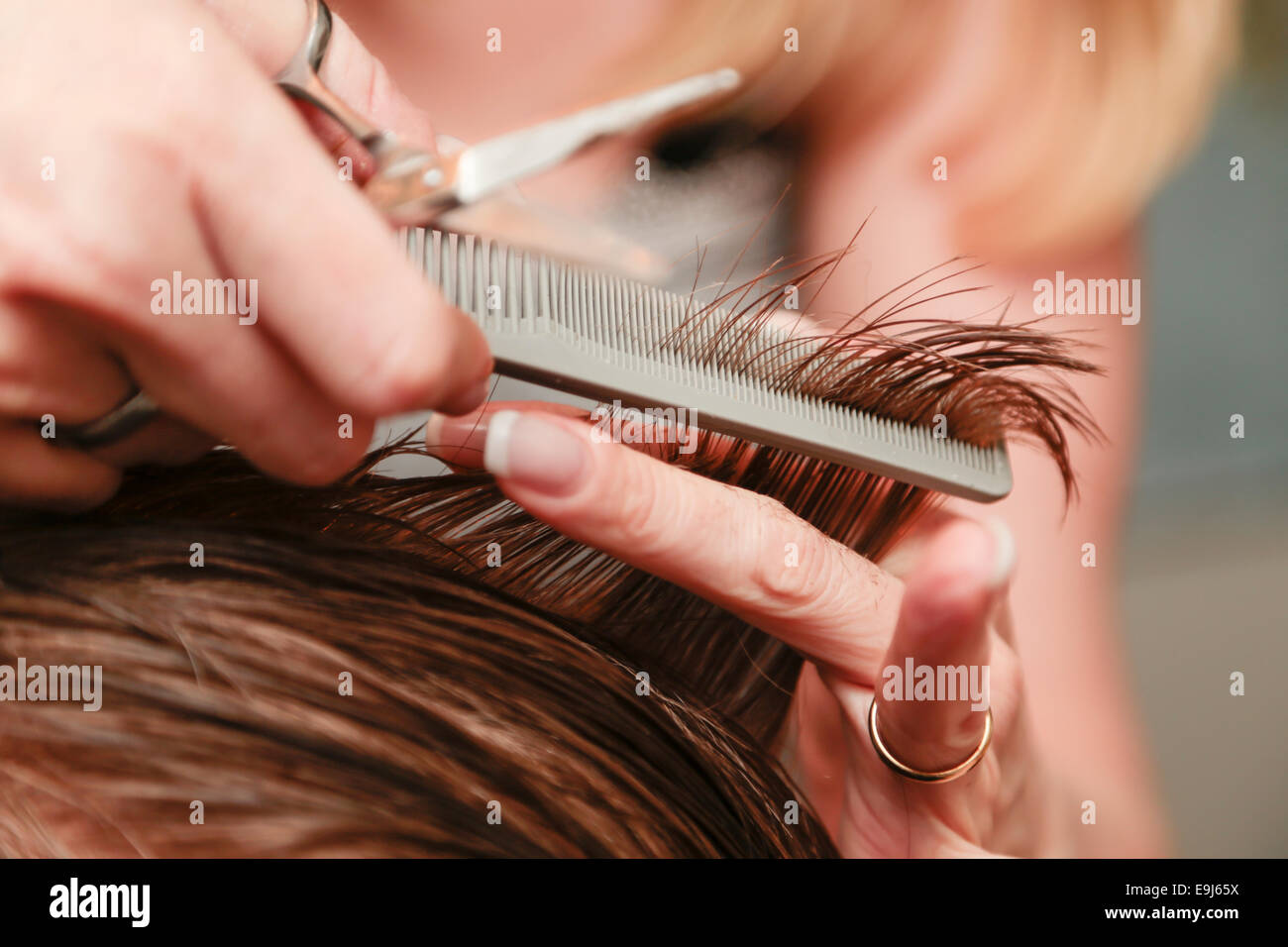 Hands cutting the hair of a young man - Stock Image