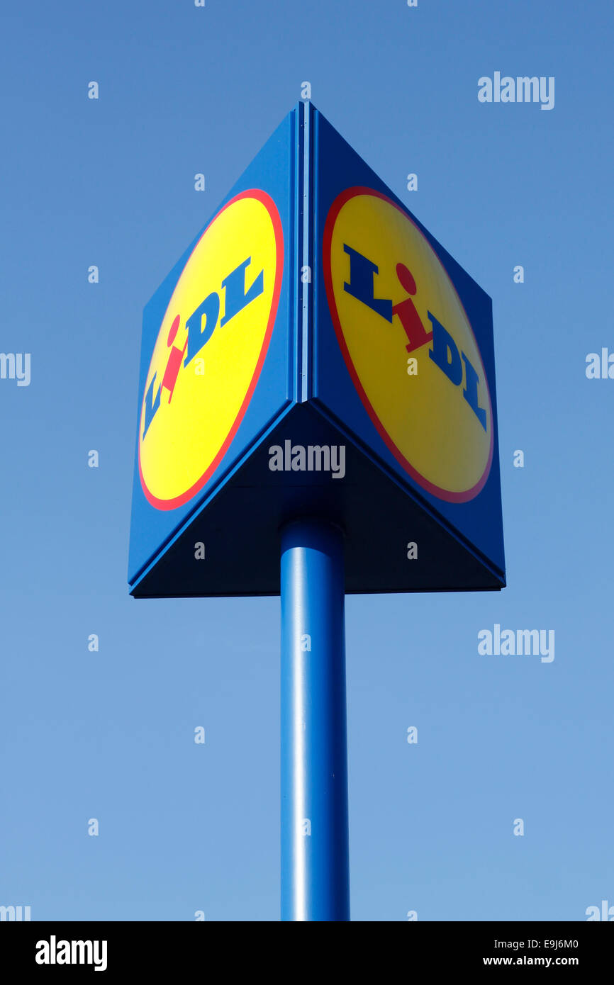 Big sign in front of Lidl store - Stock Image