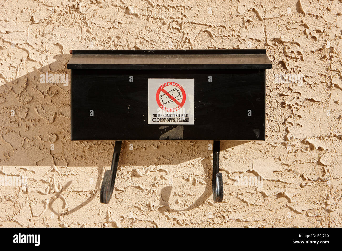 junk mail free zone on mailbox outside house in Saskatchewan Canada - Stock Image