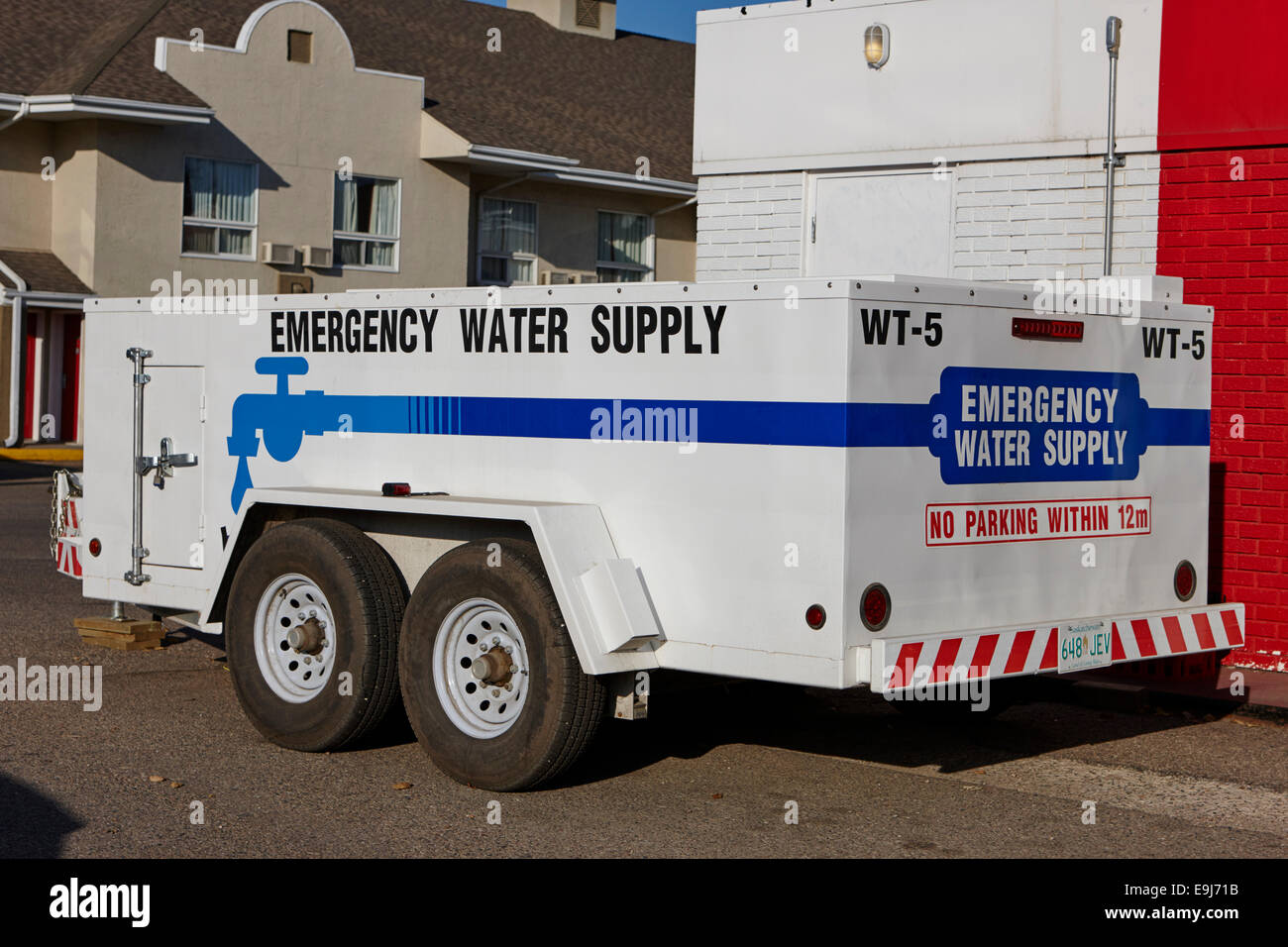 emergency water supply bowser trailer Saskatchewan Canada - Stock Image