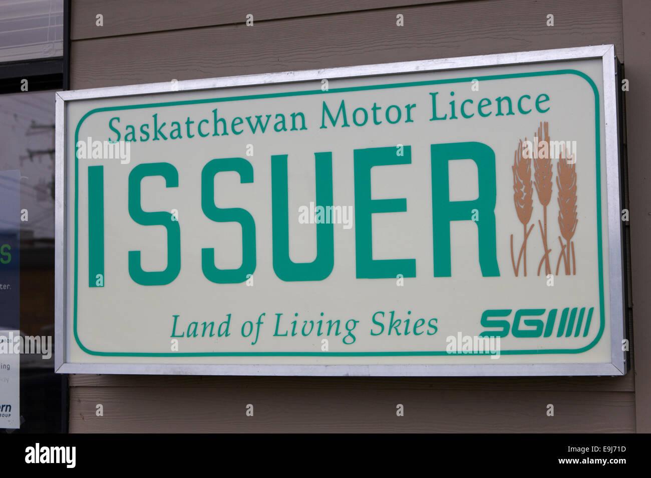 sign for sgi saskatchewan motor licence issuer Saskatchewan Canada - Stock Image