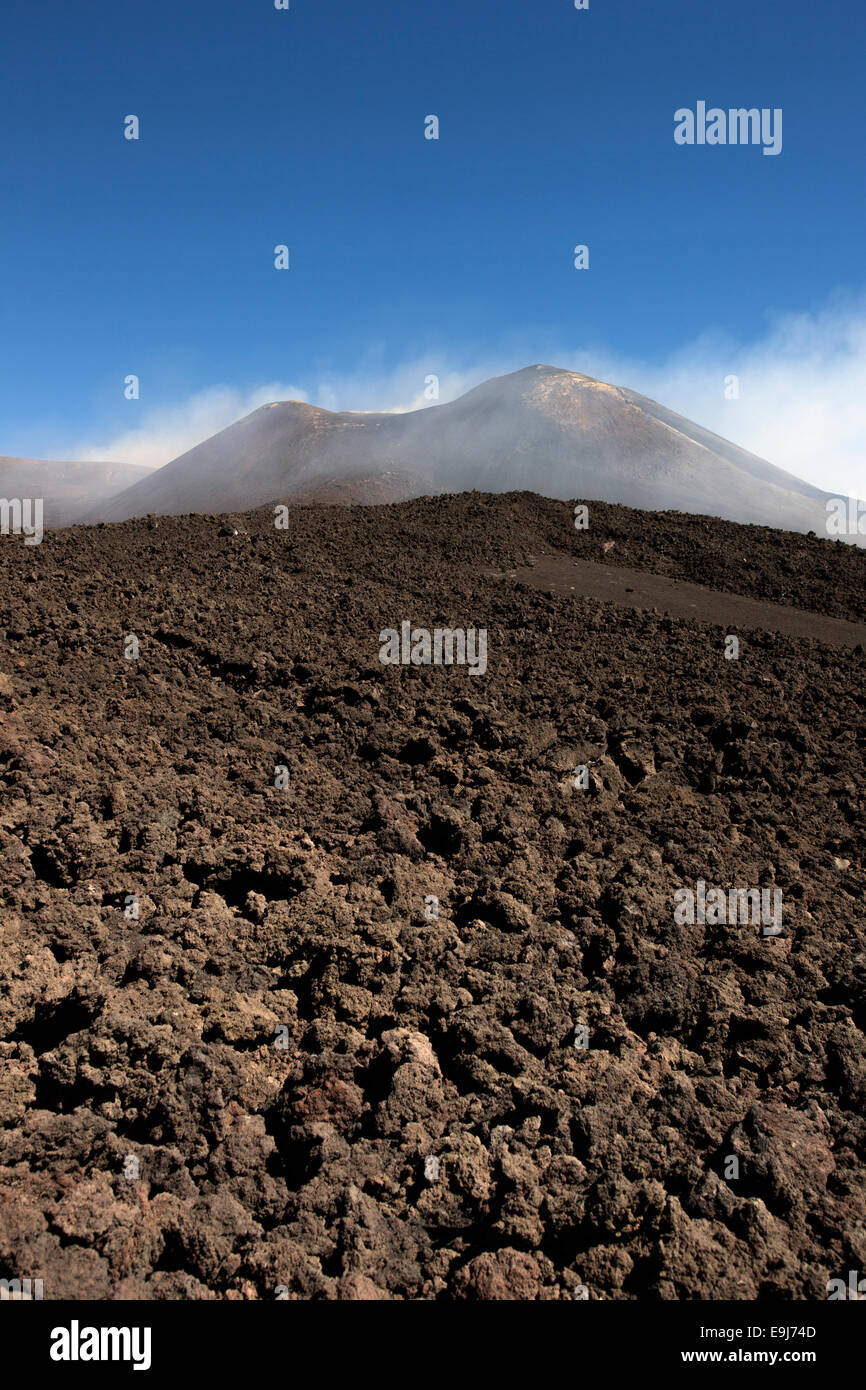 Clear sunny day on Mount Etna Sicily. Mount Etna is a stratovolcano near Catania , Siciliy Italy. It is an adventure - Stock Image
