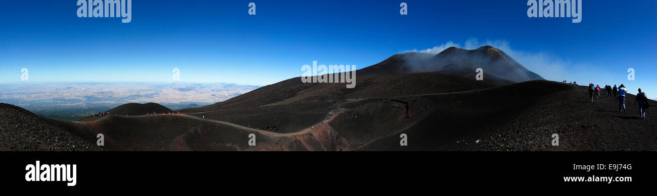 Clear sunny day on Mount Etna Sicily. - Stock Image