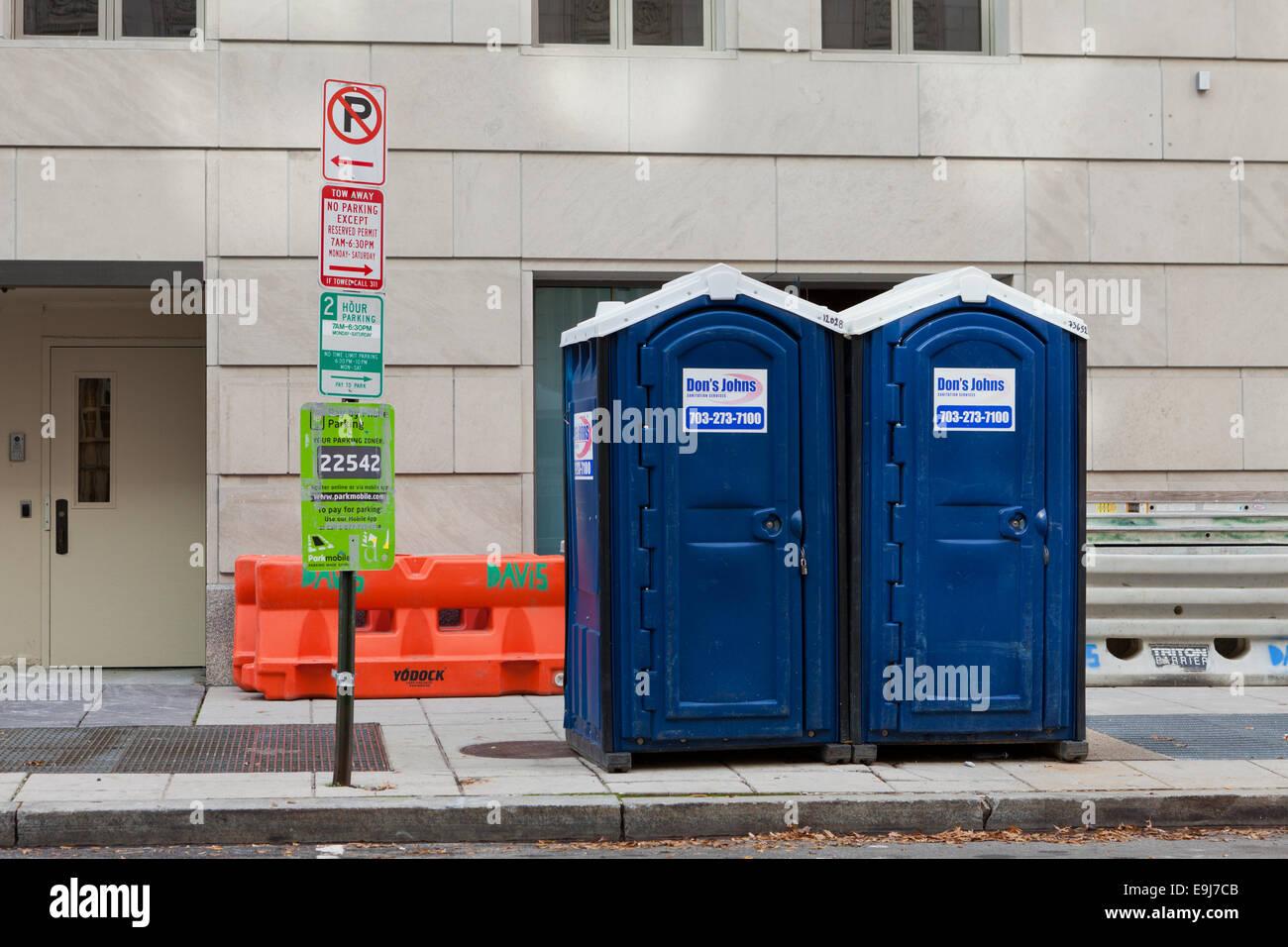 Portable toilets on sidewalk - USA Stock Photo