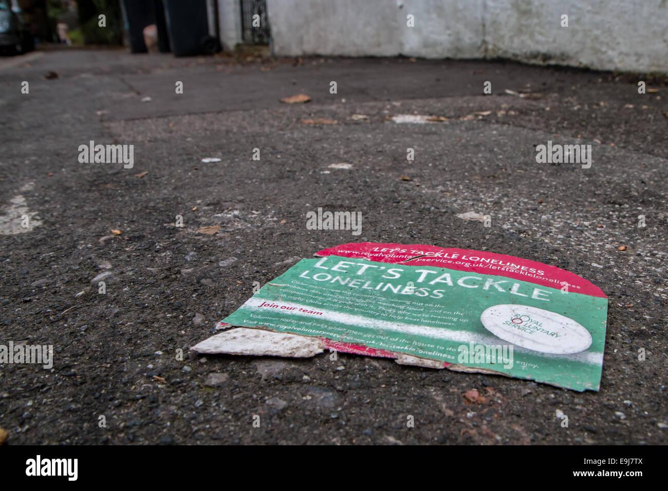 abandoned anti-loneliness leaflet Stock Photo