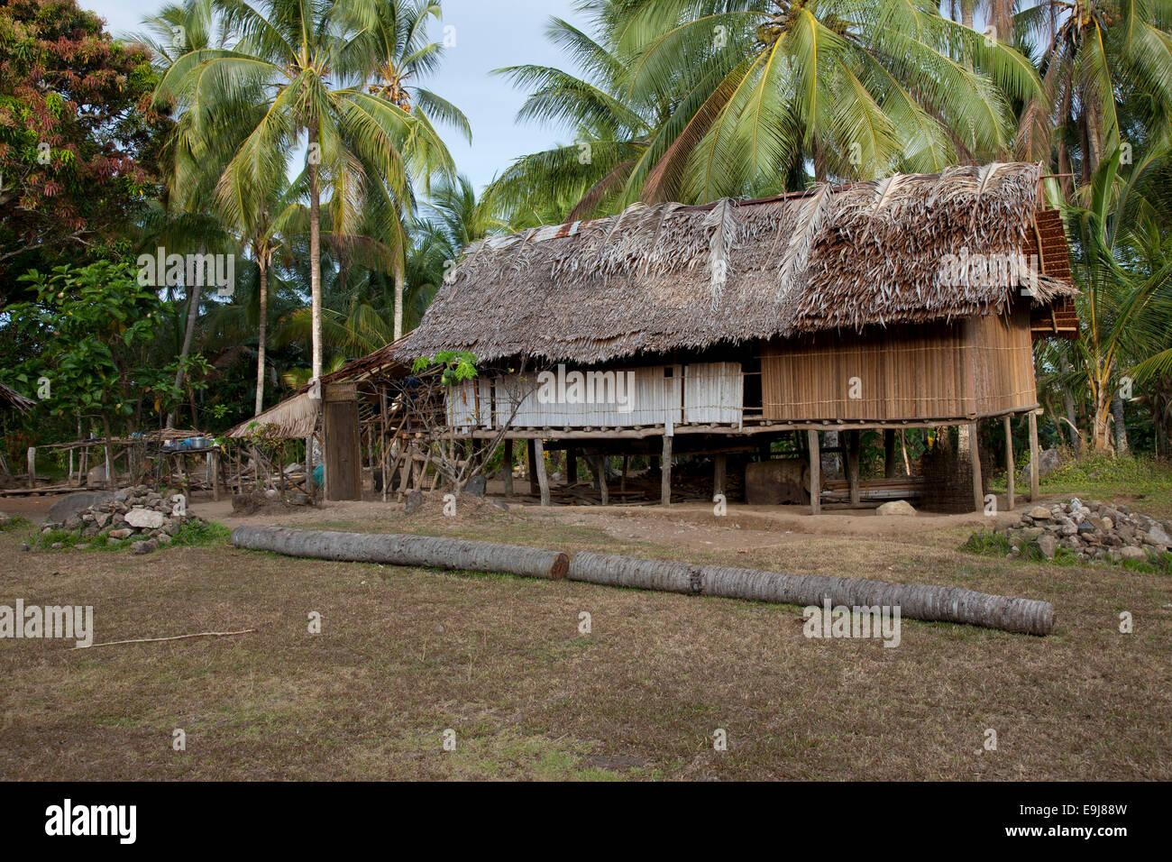 Stiled Houses in Yaugiwa Village, Northeastern Papua New Guinea Stock Photo