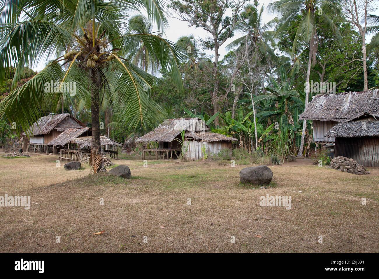 Stiled Houses in Yaugiwa Village, Northeastern Papua New Guinea - Stock Image