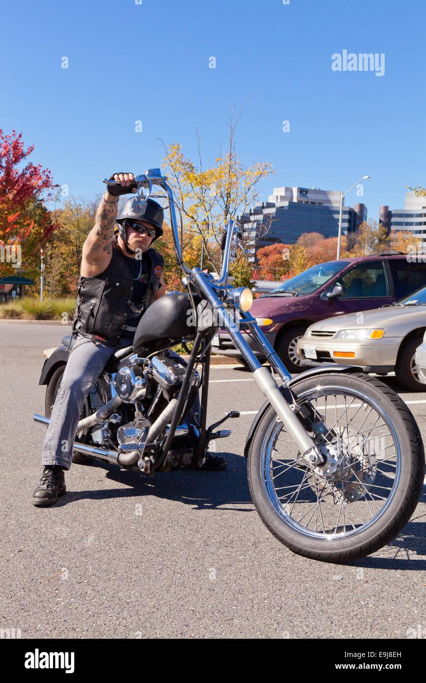 rider on harley davidson chopper motorcycle virginia usa stock photo 74775193 alamy. Black Bedroom Furniture Sets. Home Design Ideas