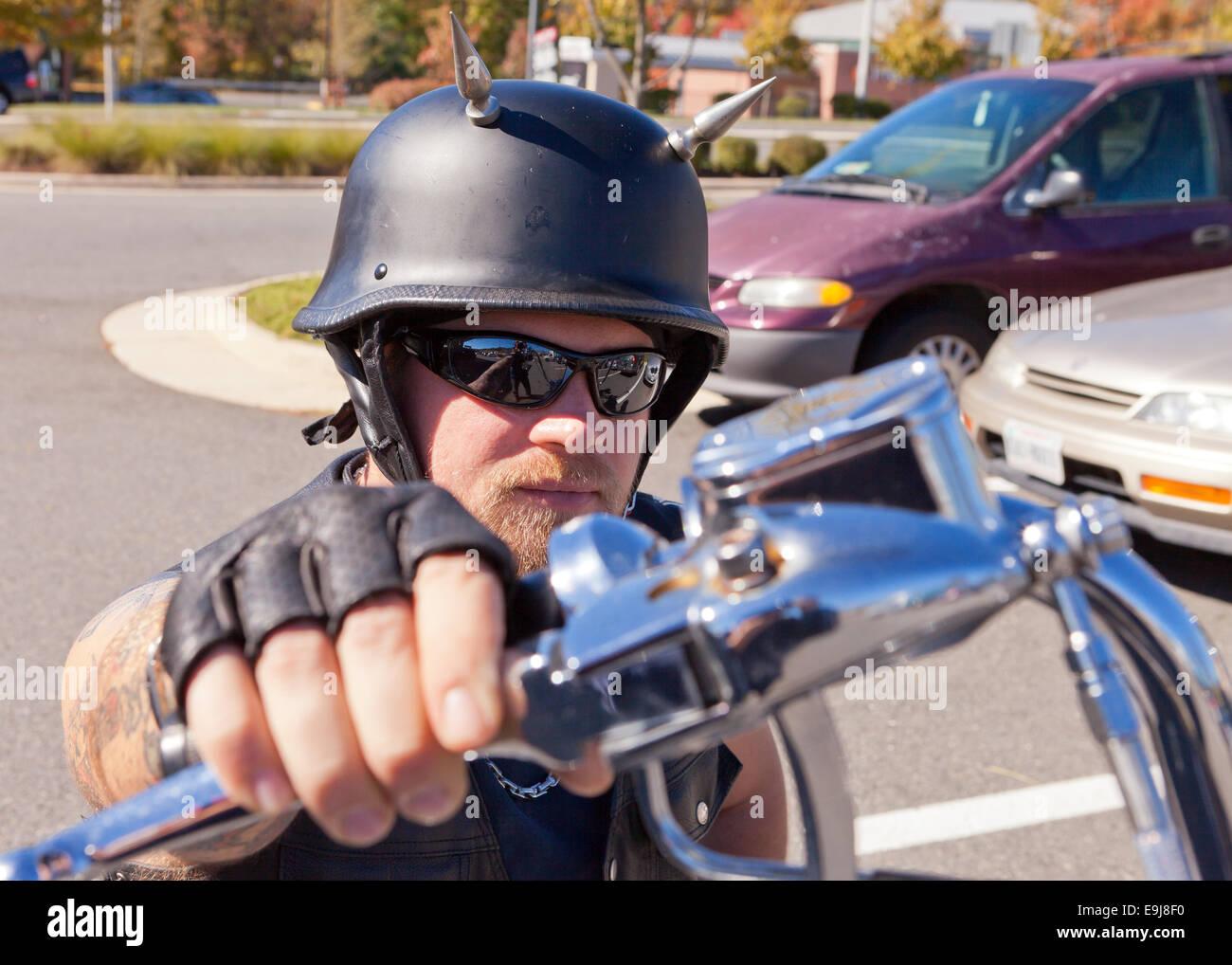 Rider on Harley Davidson chopper motorcycle - Virginia USA - Stock Image