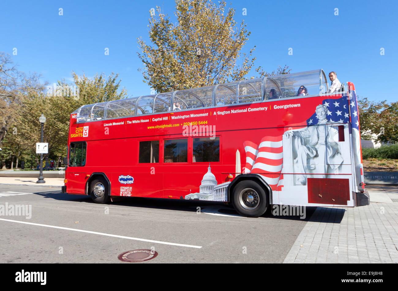 Open top tour bus - Washington, DC USA - Stock Image