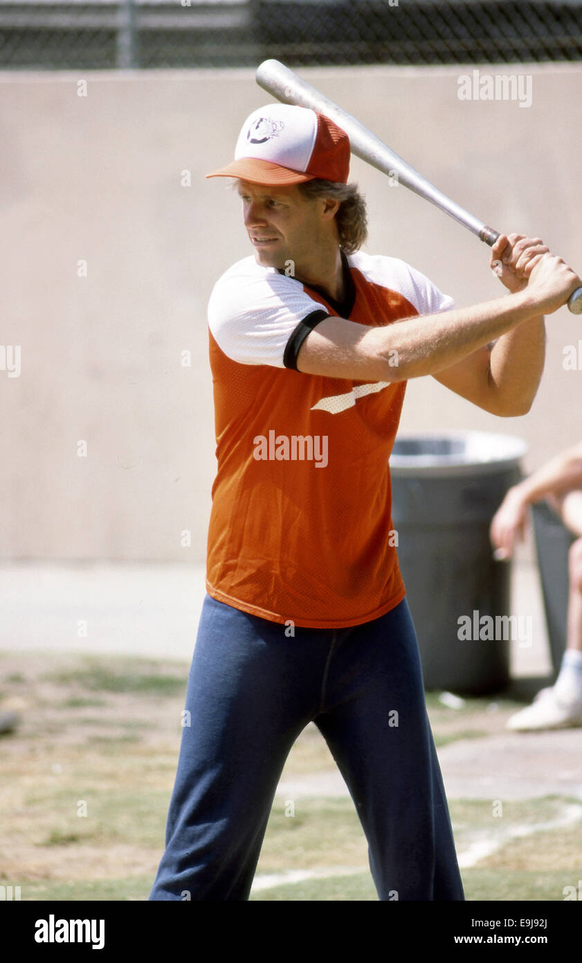 Chris Carter, creator of the X Files television series, playing softball circa 1980s - Stock Image