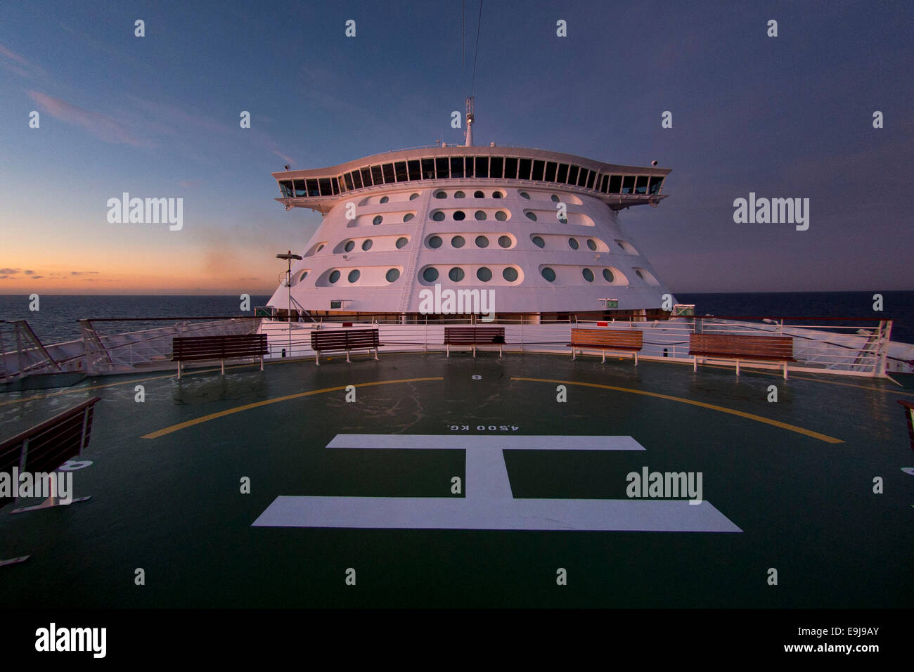 The front (bow) of Royal Caribbean's ship the Adventurer of the seas. - Stock Image