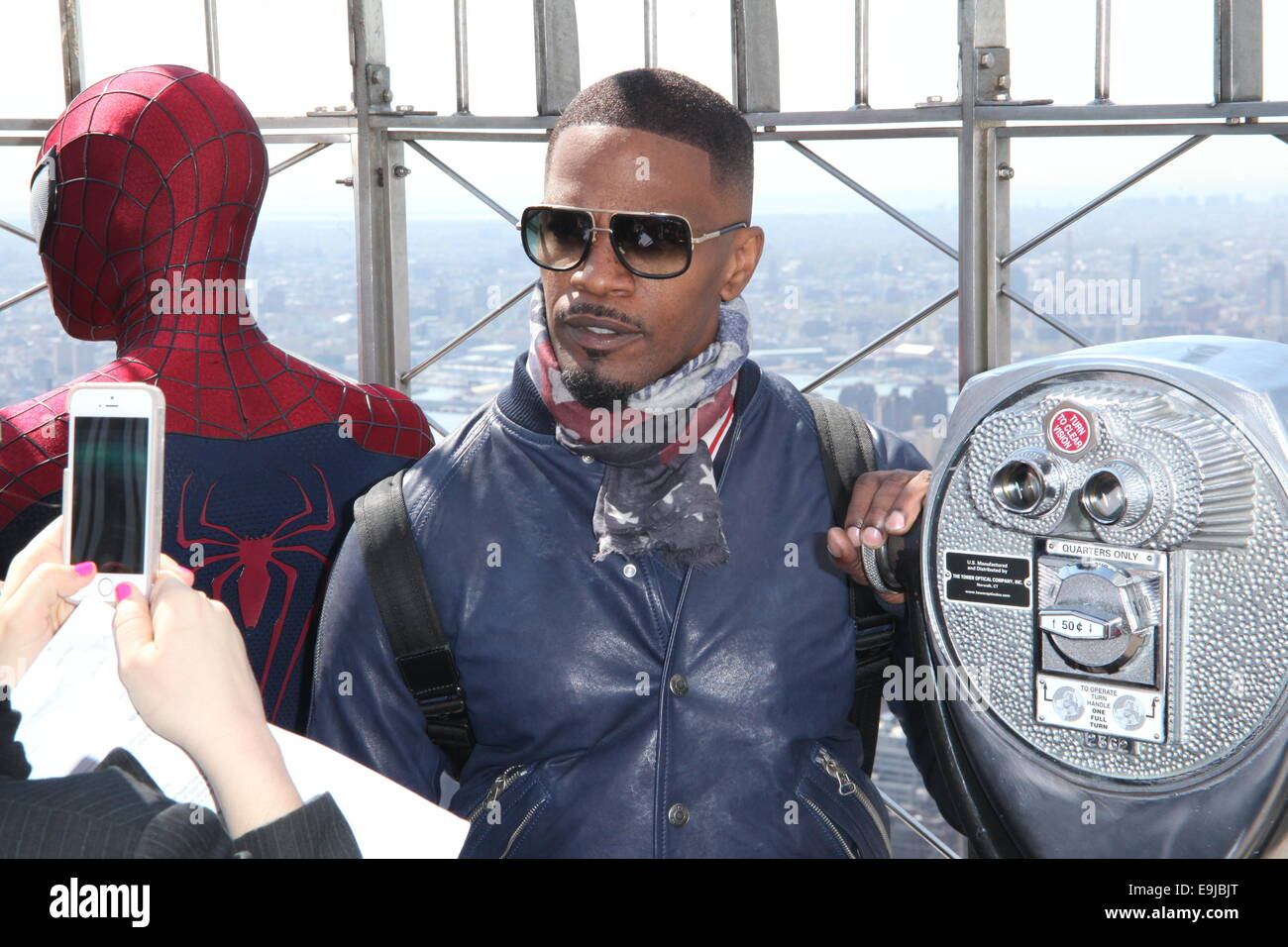 the cast of 'the amazing spider-man 2' light the empire state stock