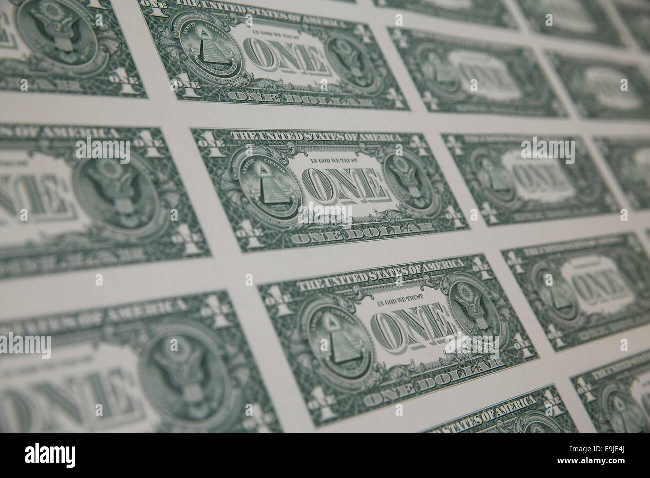 Uncut sheets of United States One Dollar ($1) bills during production at the Bureau of Engraving and Printing in - Stock Image