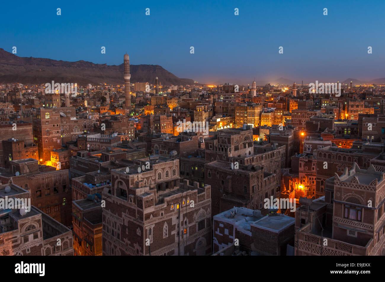 Panorama of Sanaa at night, Yemen - Stock Image